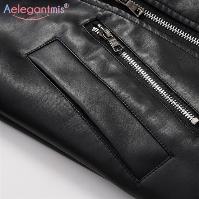 Aelegantmis – Veste en faux cuir pour femme, nouveauté, tenue de motard classique, manteau simple, grande taille, vêtement pour automne et hiver 3