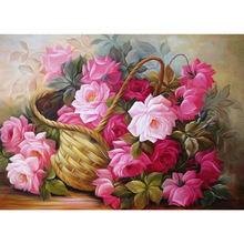 Diy розы 5d алмазная картина Цветочная корзина Вышивка крестом