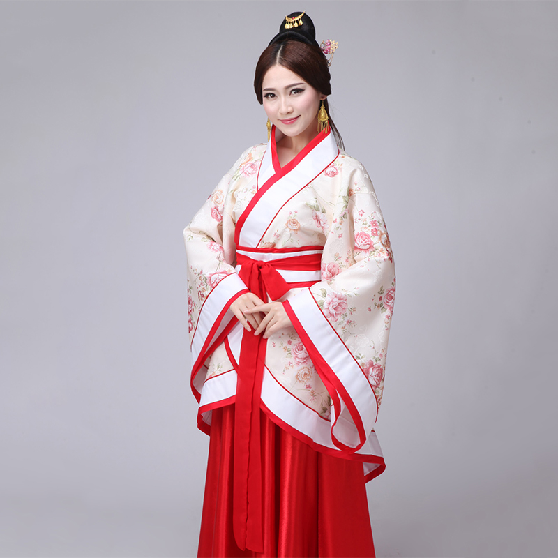 Women Hanfu Classical Dance Costume Printing Festival Outfit Red Stage Performance Clothes Lady Rave Folk Fairy Dress DF1205