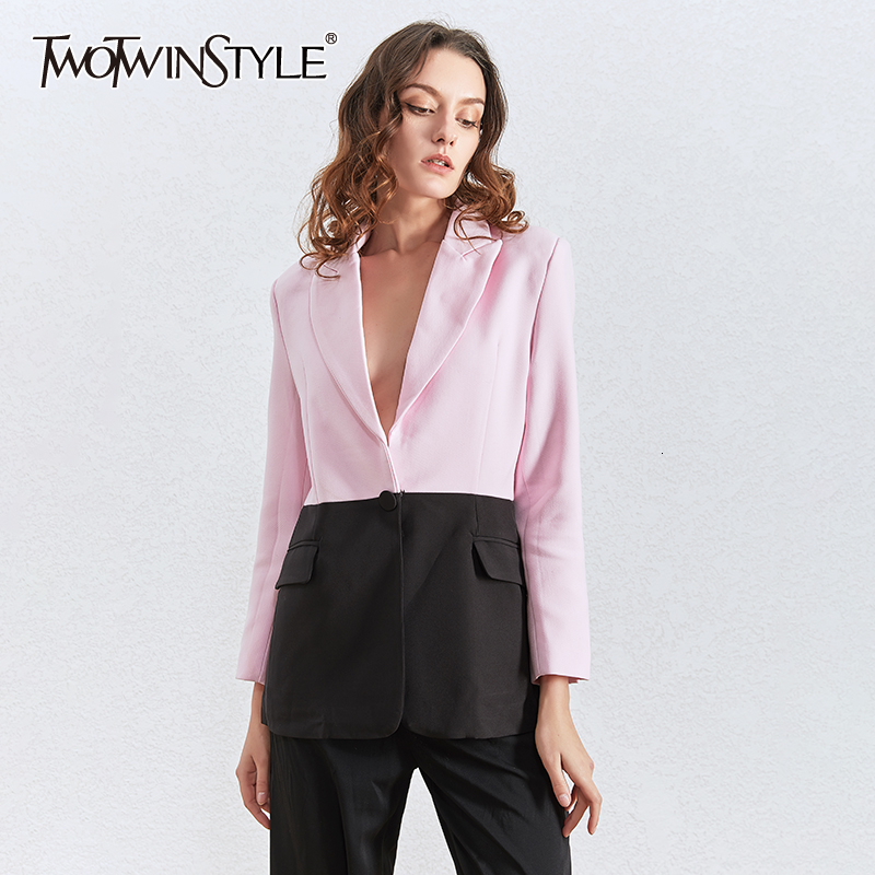 TWOTWINSTYLE Elegant Hit Color Patchwork Blazers For Women Notched Collar Long Sleeve Tunic Suit Female 2020 Fashion Clothes New