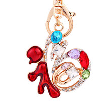 Chinese Characters of Lucky Keychain Women New Years Christmas Charm Gifts Crystal Keyring