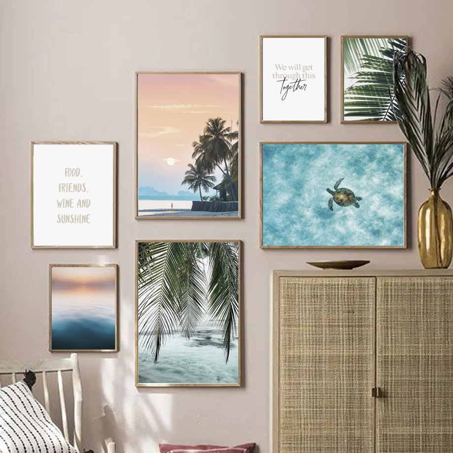Palm Leaf Turtle Beach Landscape Quotes Nordic Posters And Prints Wall Art Canvas Painting Wall Picture For Living Room Decor
