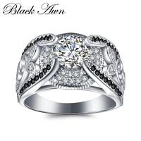 [BLACK AWN] 5,4 грамм, настоящее 925 пробы, серебряные ювелирные кольца для женщин, черный и белый камень, Femme Bague C321
