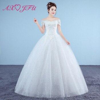 AXJFU princess white flower lace wedding dress vintage party boat neck turkey ball gown sparkly red lace flower wedding dress