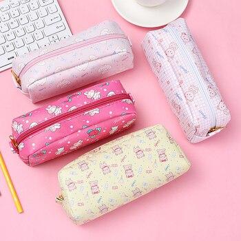 cartoon strawberry rabbit pencil case school cases for girl  stationery bag estojo escolar supplies