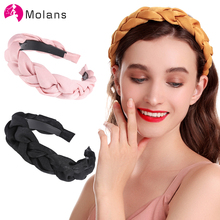 Molans White Satin Braided Headband New Crown Headbands for Women 4 CM Width Aliceband Girls Black Matador