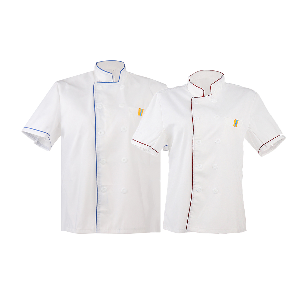2/set White Chef Jackets Kitchen Uniform Short Sleeves Shirt Double Breast