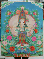 Коллекция китайская тибетская бумага Thangka тысяч рук Bodhisattva Avalokiteshvara Guan Yin Kwan-yin богиня Tangka