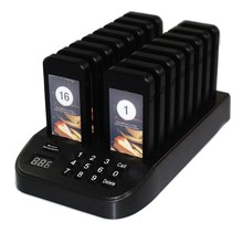 SU-66S 16 Pager Buzzers + 1 Transmitter Caller Wireless Calling System Restaurant Pager System for Restaurant Bank Church Food T(China)