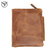 Cow Genuine Leather Men's Wallets Vintage Trifold Wallet Zipper Coin Pocket Purse