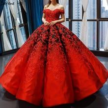 Czarny czerwony Off Shoulder seksowna suknia ślubna 2020 Vintage wysokiej klasy kwiaty suknie ślubne z perłami Real Photo HM66842 Custom Made