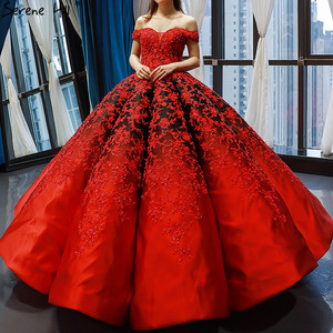 Image 1 - Vestido de novia negro y rojo, hombros descubiertos, Sexy, Vintage, de gama alta, trajes de novia con perlas, foto Real HM66842, hecho a medida, 2020