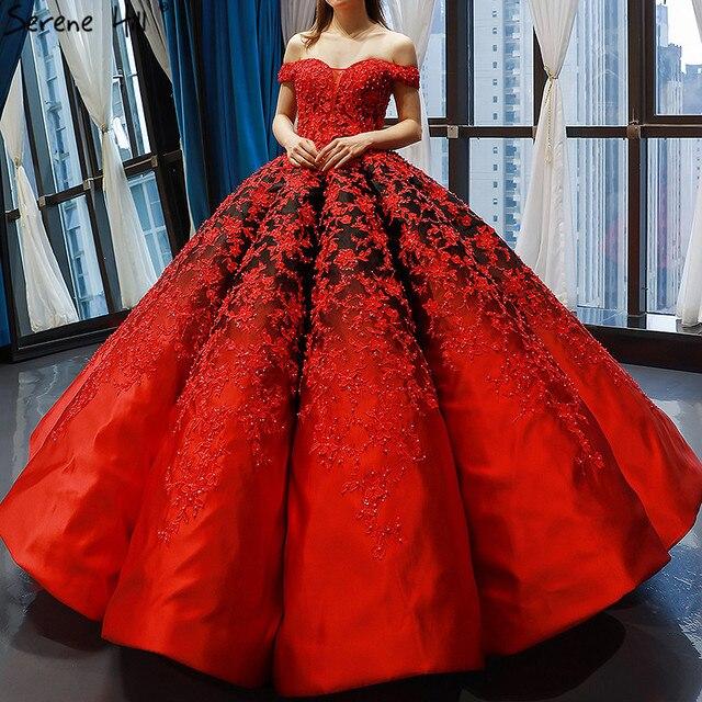 Vestido de novia negro y rojo, hombros descubiertos, Sexy, Vintage, de gama alta, trajes de novia con perlas, foto Real HM66842, hecho a medida, 2020