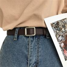 Belt without holes quare buckle retro Women Leather Belt Gir