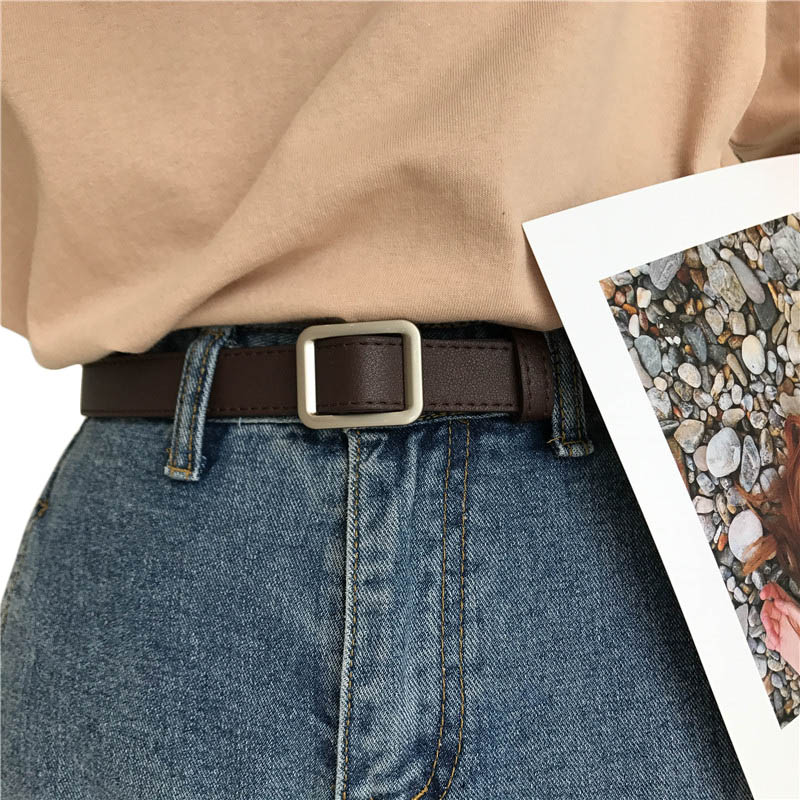 Belt Without Holes Quare Buckle Retro Women Leather Belt Girl Imitation Leather Vintage Ladies Coffee Color Fashion Waistband