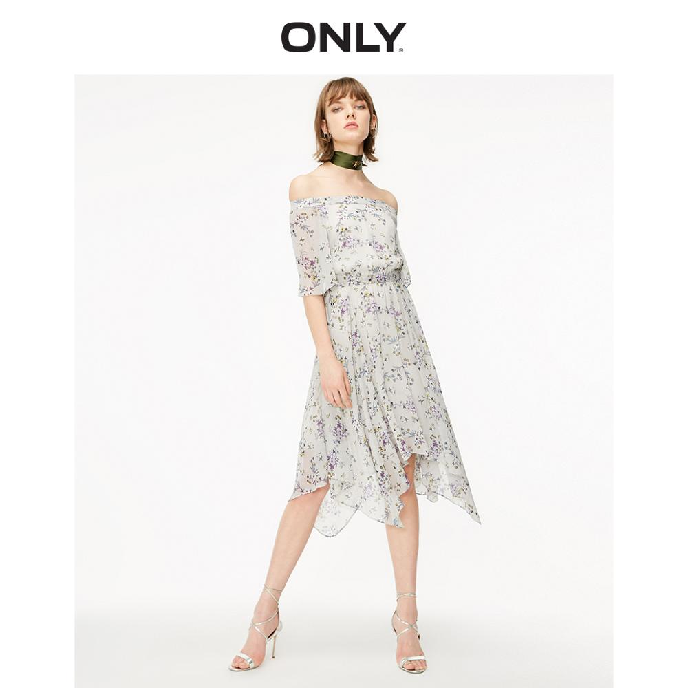 ONLY Women's Off-the-shoulder Cinched Waist White Floral Chiffon Dress   119107720