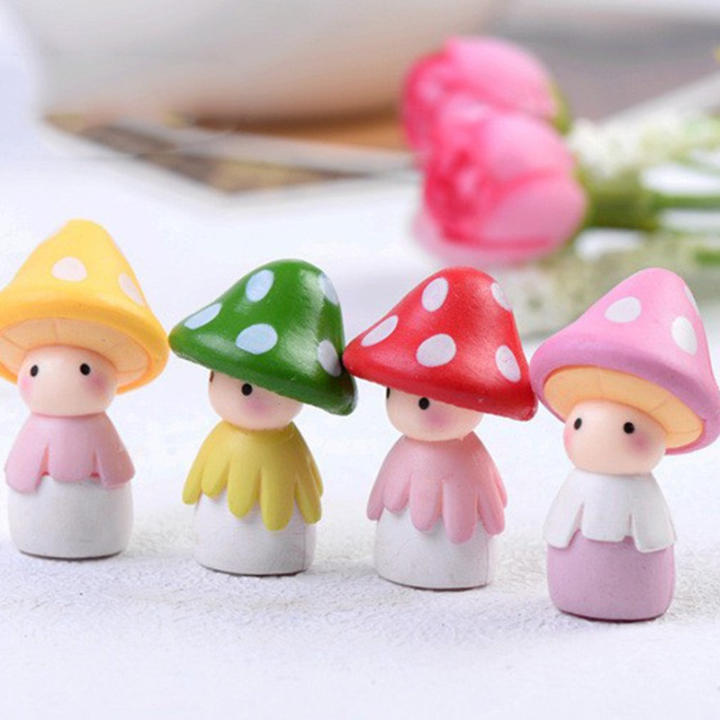 4pcs Cartoon Mushroom Resin Craft Cabochons Home Decor Micro Landscape Fairy Garden Miniatures Accessories