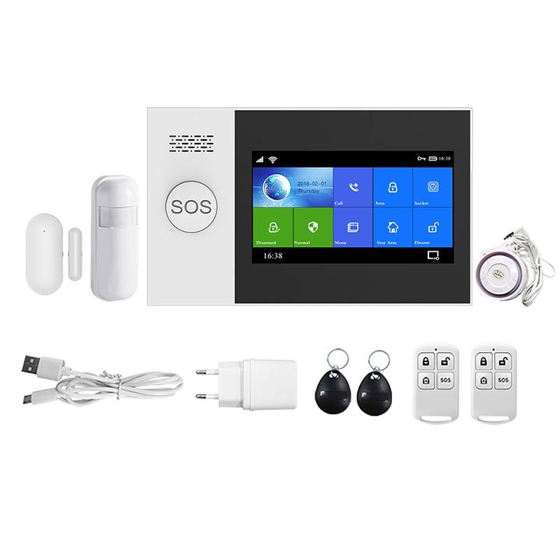 PG-107 Wireless Home WIFI GSM GPRS Burglar Home Security with Motion Detector Sensor Burglar Alarm APP Control EU Plug