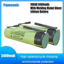 Panasonic ncr18650b original novo 3.7v 3400mah 18650 baterias recarregáveis da folha do níquel da soldadura da bateria do li-íon