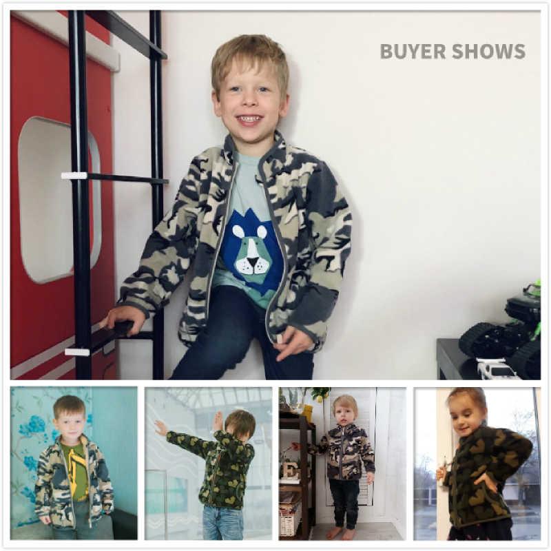 Smukły dla 2-10 lat maluch i młodzi chłopcy z pełnym zamkiem Camo kurtka polarowa bluza znosić odzież dziecięca