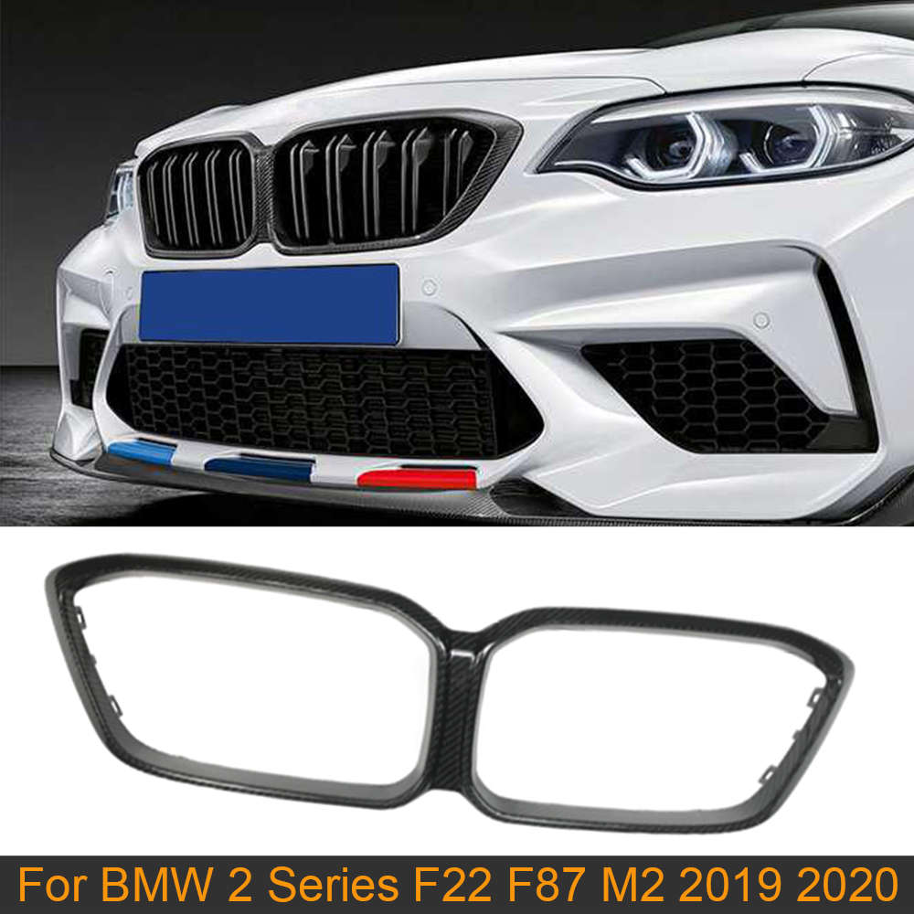 Car Front Bumper Grill Grille Frame for BMW 2 Seires F22 F87 M2 2019 2020 Competition Carbon Fiber Front Grill Grille Frame Mesh image