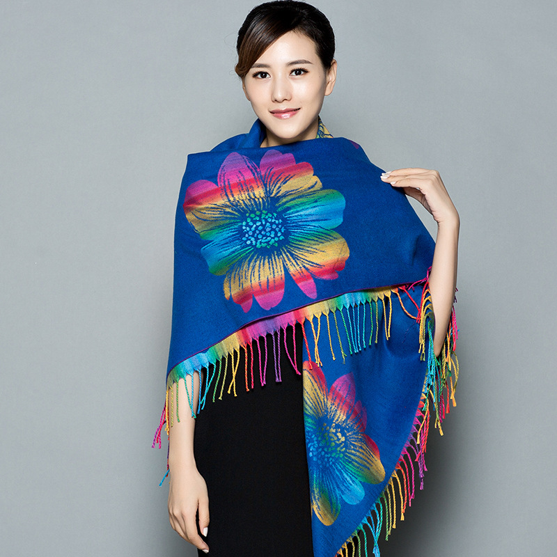 Autumn And Winter Travel Big Square Scarf Ethnic Style Scarf Women Thicken Warm  With Cloak Warm Shawl Dual-use