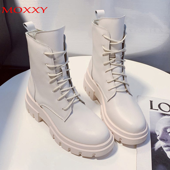2020 Fashion Mid Calf Boots Black Leather Platform Shoes Goth Boots Lace up White Leather Combat Boots for Women doratasia 2018 lace up black white women boots woman shoes comfort flat heel wholesale hot sale mid calf boots shoes woman