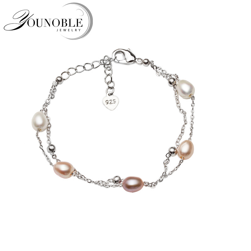 Beautiful Real Natural Freshwater Pearl Bracelet Women,cute 925 Silver Girl Birthday Gift