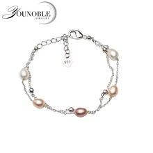 Beautiful Real Natural Freshwater Pearl Bracelet Women,cute 925 Silver Girl Birthday Gift