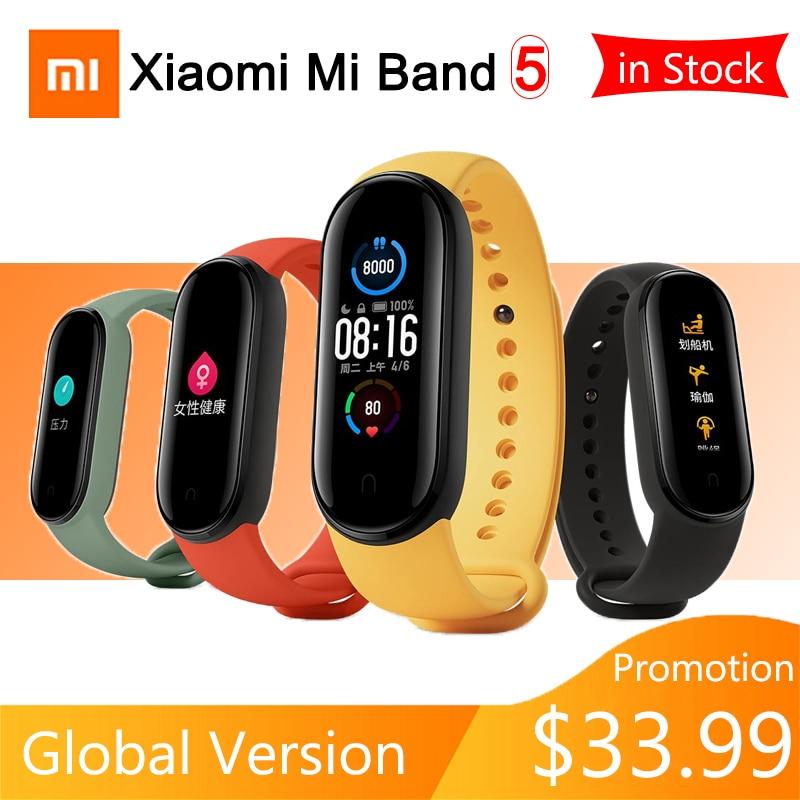 InStock Xiaomi Mi Band 5 Smart Bracelet Mi Band 5 Global Version Smartband Heart Rate Fitness Tracker Bluetooth Waterproof Watch|Smart Wristbands| - AliExpress