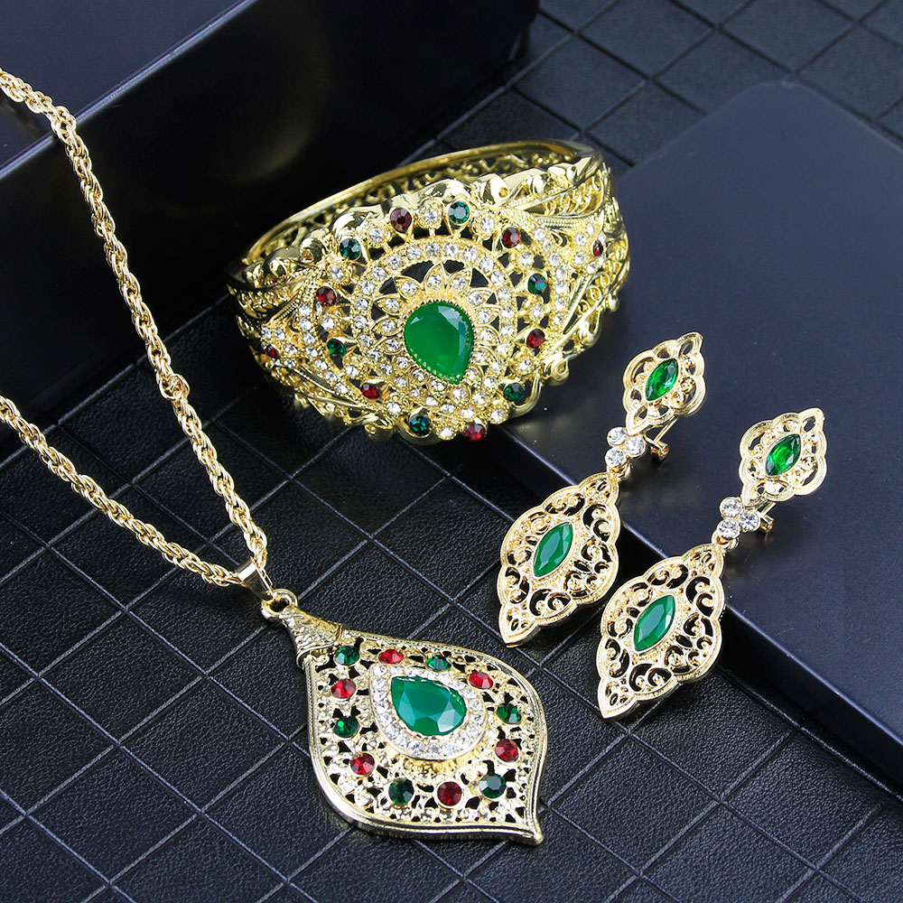 Sunspicems Fashion Algerian Flower Jewelry Set for Women Gold Color Wedding Earring Necklace Bangle Afrian Bride Accessories