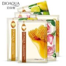 10Pcs Bioaqua plant Face Masks Honey Lemon Rose Essence Skin Care Moisturizing Whitening Depth Replenishment Facial Mask