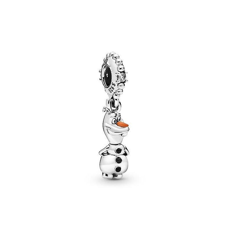 Authentic 925 Sterling Silver Beads Sparkling Frozen Olaf Dangle Charm Fit Pandora Bracelets Women Diy Jewelry Making 2019