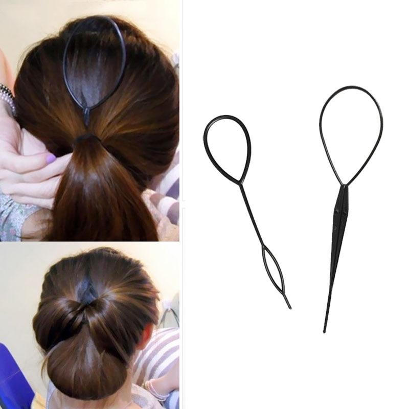 Popular 2 Pcs Ponytail Creator Plastic Loop Styling Tools Black Topsy Pony Topsy Tail Clip Hair Braid Maker Styling Tool Fashion
