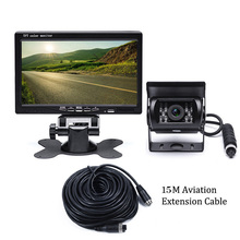 CMOS 18 IR Rear View Backup Reversing Camera+7'' TFT LCD Car Monitor for Bus Truck+15M Video Cable+Remote Controller NTSC/PAL