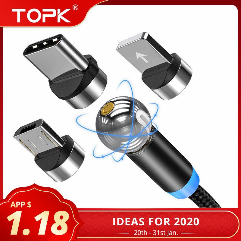 TOPK AM28 360 degree Rotate Magnetic Micro USB Type C Cable LED Magnetic Charging Cable for iPhone 11 Xs Max X 8 7 6-in Mobile Phone Cables from Cellphones & Telecommunications on AliExpress