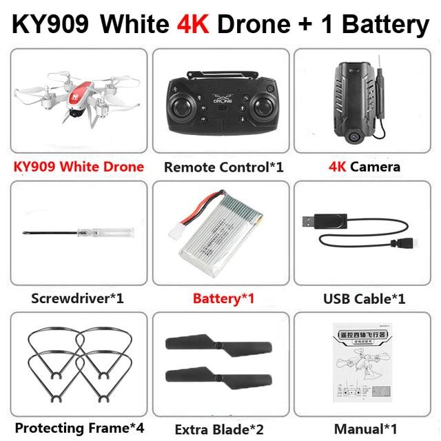 KY909 RC WiFi Дрон с 4K широкоугольной WiFi HD камерой оптический поток RC складной мини Квадрокоптер Вертолет VS LF606 E58 M69 F11 - Цвет: Black 4K Camera