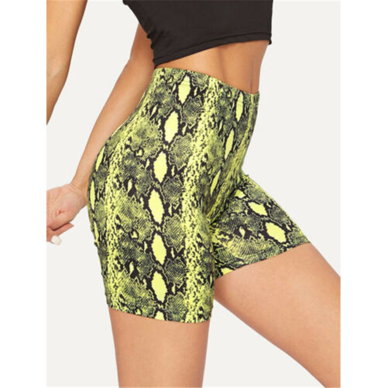 Women 2019 Sports Shorts High Waist Push Up Snake Skin Gym Workout Fitness Casual Hot Shorts Casual Bicycle Shorts