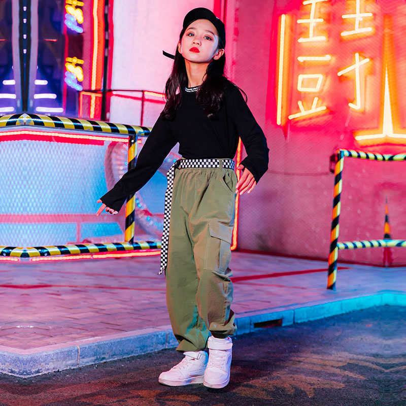 Hip Hop Jazz Kostuums Mode Overalls Broek Meisjes Street Dance Kleding Kids Moderne Podium Outfits Kind Prestaties Slijtage DN4715