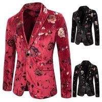 Mens Party Velvet Suit Jacket Men Floral Print Club Blazer Jackets Men Casual Wedding Luxury Jacket Coat Costume Clothes