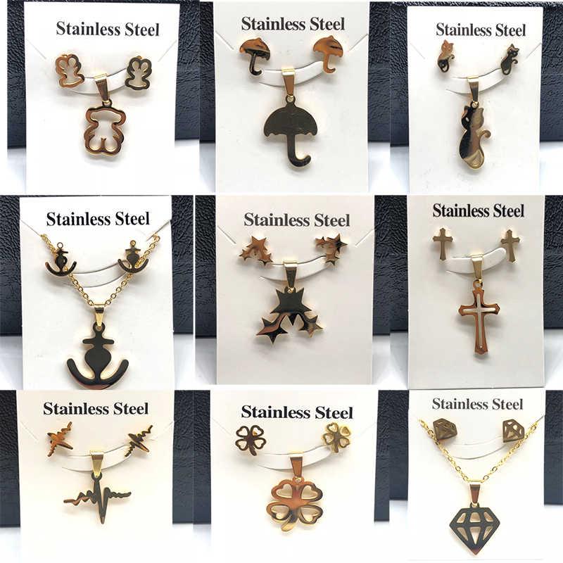 Warna Emas Stainless Steel Beruang Liontin Anting-Anting Kalung Set Jantung Clover Cross Beruang Pesona Kalung Perhiasan Set untuk Wanita