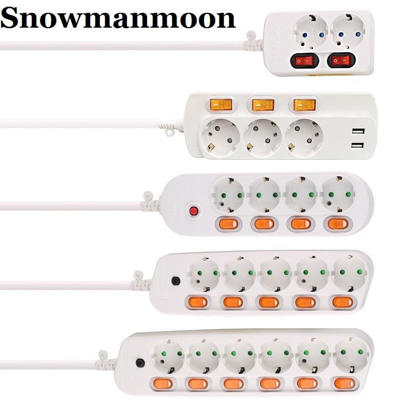 Electrical Power Strip 10/16A Overload Protection 1.5/2.5M EU Plug Adapter Extension Desktop Power Socket 2/3/4/5/6 AC Output