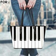 FORUDESIGNS 2020 Bolsas de gran capacidad mujer negro blanco Piano teclas imprimir diseño de lujo PU cuero bolsos de playa de las señoras