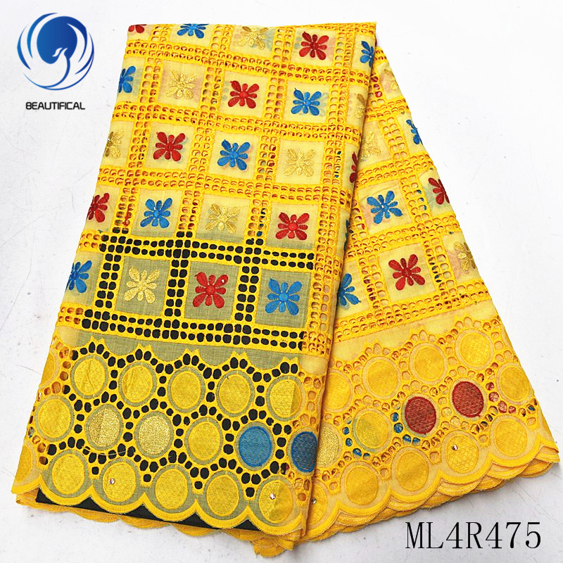 BEAUTIFICAL african lace fabrics hot sale nigerian voile lace embroidery fabric Punch cotton lace fabric 5yards/lot ML4R475