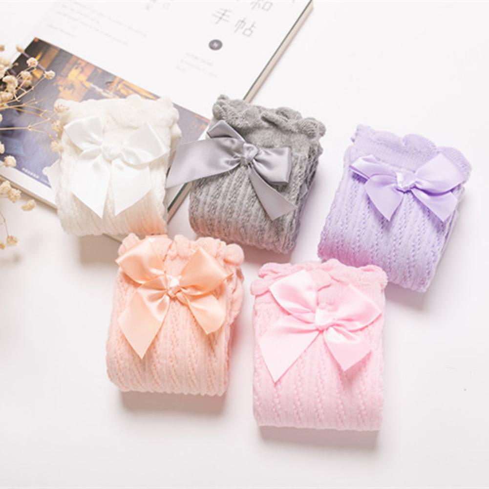 32cm Kids Girls Lace Bowknot Knee High Knee Long Soft Cotton Solid Color Bow Decoration Stockings Cotton Color Good Elasticity