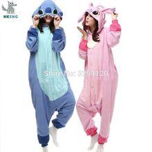 Hksng animal adulto azul rosa ponto onesies kigurumi pijama anime dos desenhos animados cosplay trajes roupa de dormir macacão