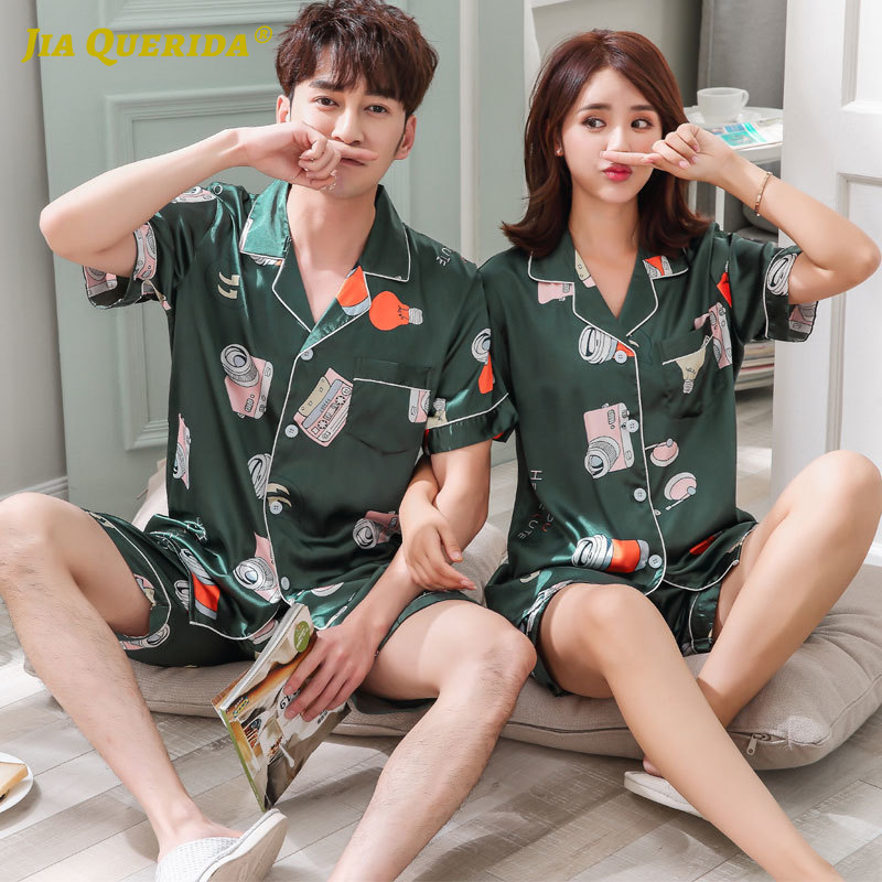 Green Fashion Casual Style Pajamas Set Imitated Silk Satin Silk Turn Down Collar Short Sleeve Short Pants Couple Men And Women