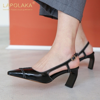 Lapolaka 2020 New Fashion Cow Leather Buckle Strap Concise Pumps Woman Shoes Strange Style Pointed Toe Summer Shoes Women