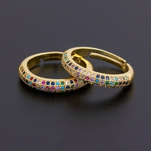 Top Quality 12 Styles Wholesale Simple Adjustable Ring Fashion Gold Color Copper Zircon Rainbow Rings Fine Party Wedding Jewelry