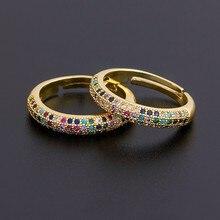 En kaliteli 12 stilleri toptan basit ayarlanabilir yüzük moda altın rengi bakır zirkon gökkuşağı yüzük güzel parti düğün takısı